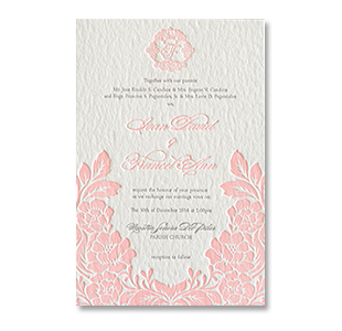 Letterpress Floral Pink Monogram BATAAN WEDDING INVITATION