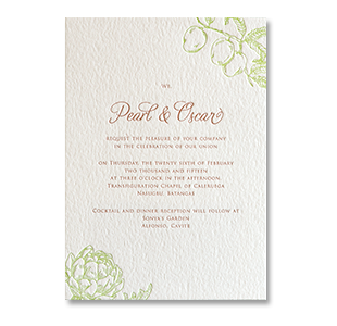 Letterpress Flower and Fruits CALERUEGA, NASUGBU BATANGAS WEDDING INVITATION
