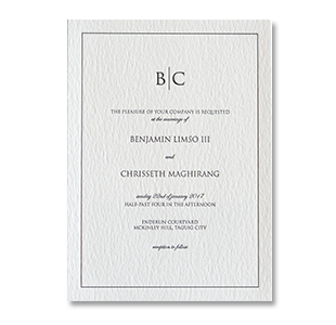Letterpress Formal Monogram MCKINLEY HILL, TAGUIG WEDDING INVITATION