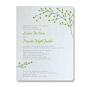 Letterpress Green Leaves NSW, AUSTRALIA WEDDING INVITATION