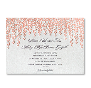 Letterpress Pink Wisteria GUAM WEDDING INVITATION