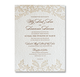 Letterpress Vintage Leaves MELBOURNE AUSTRALIA WEDDING INVITATION