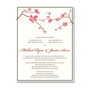 WaterColor Cherry Blossoms >GOLDEN BAY, MANILA WEDDING INVITATION