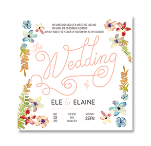 WaterColor Floral Square DAVAO WEDDING INVITATION