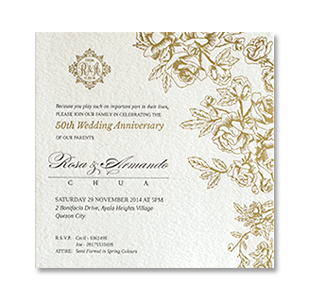 Letterpress Gold Rose Monogram QUEZON CITY, MANILA 50TH GOLDEN ANNIVERSARY