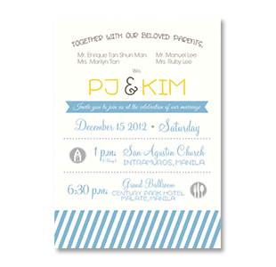 WaterColor Modern Stripes MANILA INTRAMUROS WEDDING INVITATION