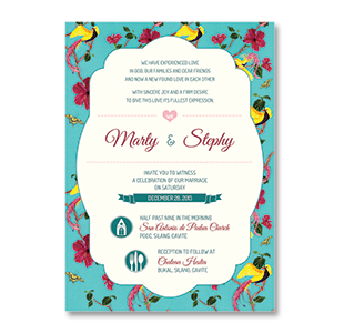 WaterColor Peacock Flower CAVITE WEDDING INVITATION<