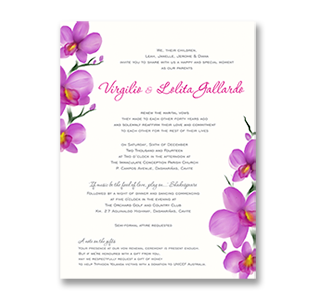 WaterColor Purple Orchid ORCHARD, CAVITE WEDDING INVITATION