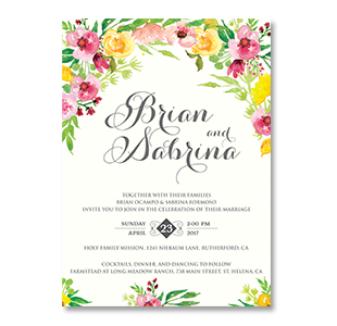 WaterColor Vibrant Flowers CALIFORNIA, USA WEDDING INVITATION