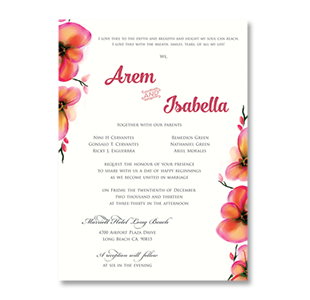 Watercolor Chromatic Flowers LONG BEACH, CA. WEDDING INVITATION